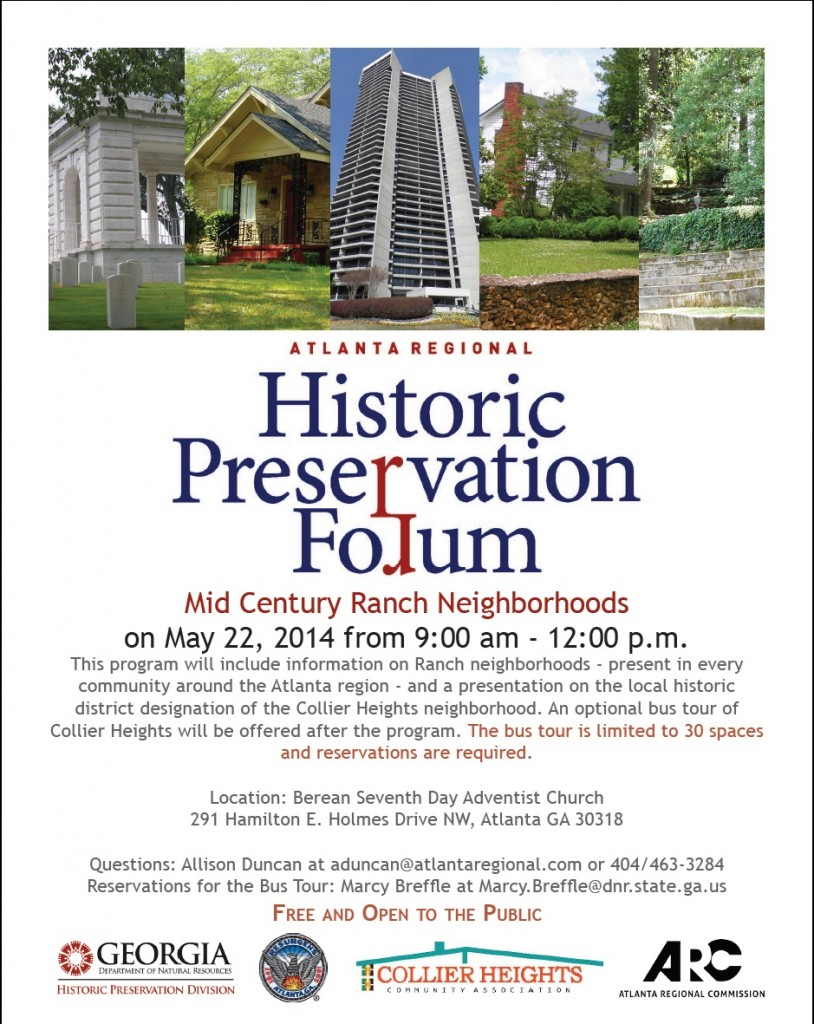 Flyer for Historic Preservation Forum on Mid Century Ranch Neighborhoods